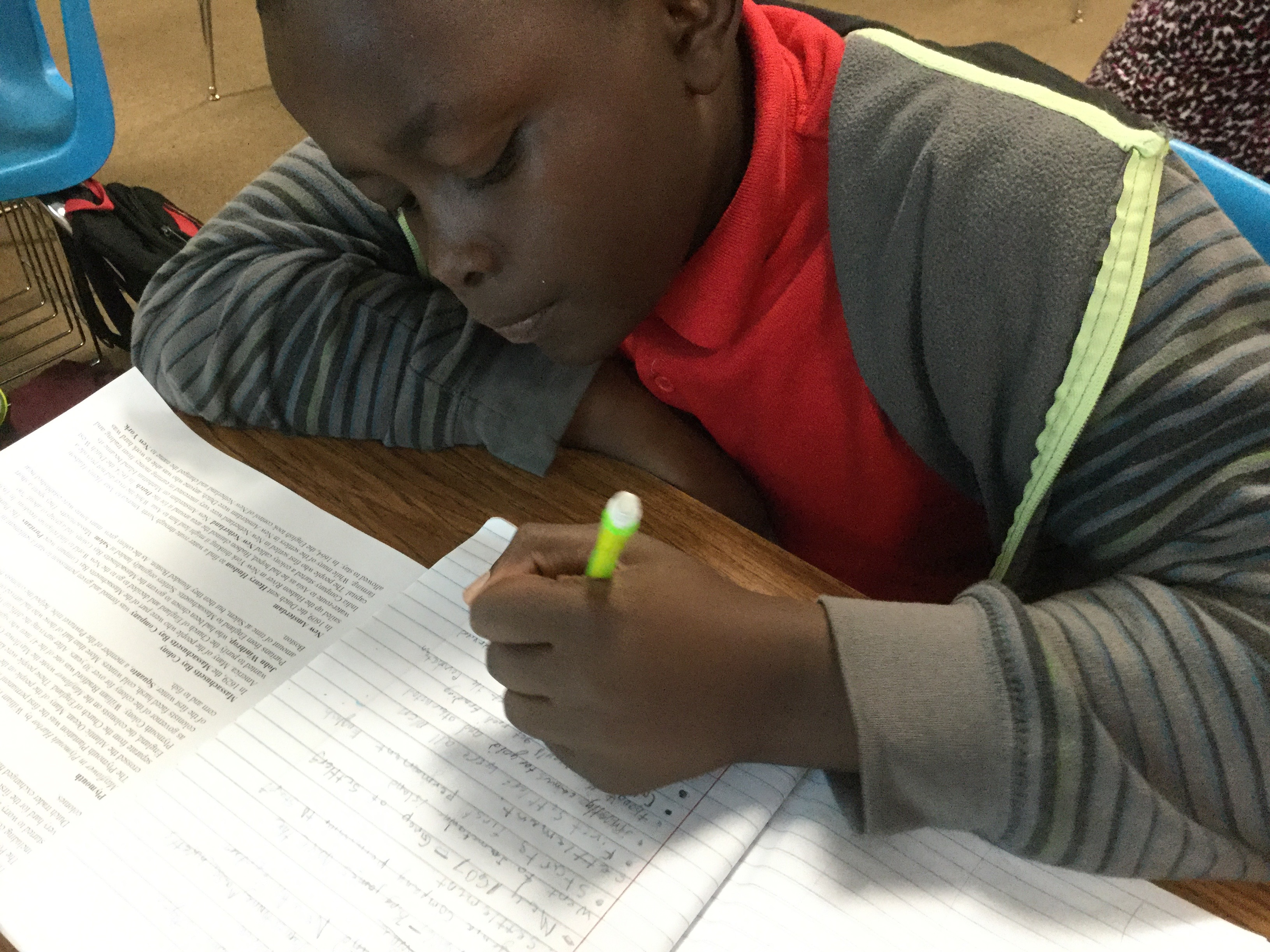 Taking notes in social studies-4th grade